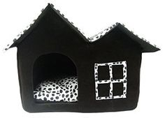 2 Room Super Soft Nice Brown Indoor Dog House with Polka Dot Style Roomy Pet Bed House for Small Animals Kennels