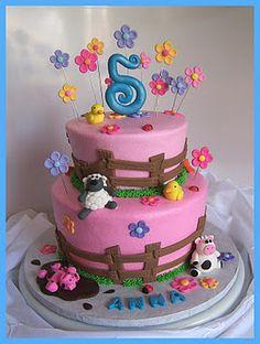Pretty farm birthday cake