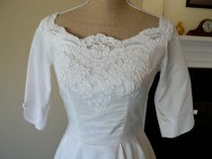 1960s Lace Applique Wedding Dress by PersimmonandFigs on Etsy