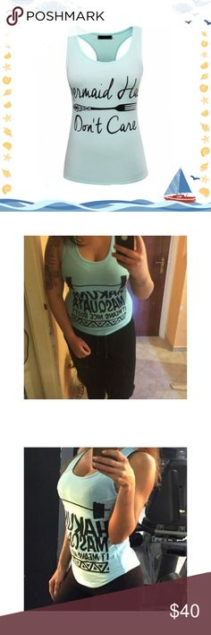 """Plus size Mermaid Hair Don't Care workout tank Mermaid Hair Don't Care Measurements: XL laid flat 16.5"""" bust after stretch 20"""" length 22.8"""" Tops Tank Tops"""