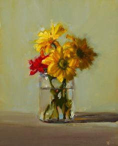 Susan Nally: A Painter's Journal: Daisies with Red Carnation
