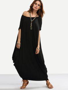 36fb92cb9ec8 Black One Shoulder Dolman Sleeve Maxi Dress -SheIn(Sheinside) Maxi Kleider,  Mode