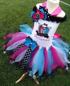 CUSTOM MONSTER HIGH tutu birthday costume top set size 8 years to size 12years. $66.00, via Etsy.