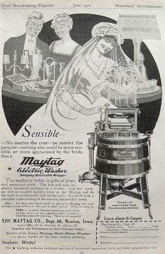 1916 Vintage Advertising Illustration 1910s Maytag Washing Machine