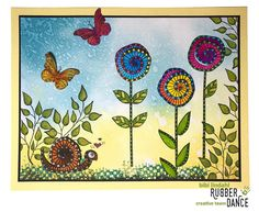 * Rubber Dance Blog *: New Stamps - Release Sale! Greeting Card with Crazy Flowers