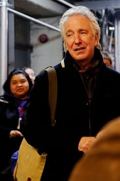 """Seminar"" stage door November 11, 2011 Alan Rickman signing autographs at the stage door of the John Golden Theater, after the performance of Seminar on Friday 11 November 2011."