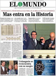 PORTADAS DEL 26 DE NOVIEMBRE 2012: ELECCIONES EN CATALUÑA