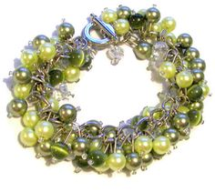 Green and Chartruese Pearl Cluster Bracelet by SeagullSmithJewelry