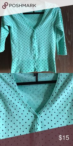 Maurices adorable Tiffany Blue Cardigan Adorable button up cardigan from Maurices. Tiffany blue with navy blue polka dots. Worn only once or twice. Maurices Sweaters Cardigans