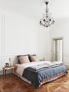 Home Decor Ikea Parisian bedroom with faded linens and crystal chandelier via A B Kasha.Home Decor Ikea Parisian bedroom with faded linens and crystal chandelier via A B Kasha Parisian Bedroom Decor, Paris Bedroom, Bedroom Interiors, Bedroom Ideas, Bedroom Apartment, Design Bedroom, Scandinavian Bedroom, Scandinavian Design, Feminine Apartment