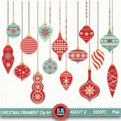 """Christmas Ornaments ClipArt """" CHRISTMAS ORNAMENTS """" pack,Christmas Clipart,Christmas Balls,Winter,Snowflakes,Christmas Decorations Crs039 by SAClipArt on Etsy"""