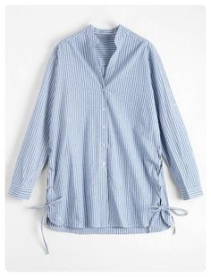 Button Up Striped Blouse (Light blue)