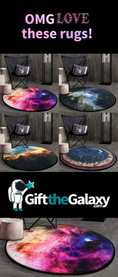 We will take one of each please! How gorgeous are these custom space rugs?! These decorative, colorful galaxy filled, space themed rugs are perfect for dressing up any room in your home! Bedroom Décor Ideas | Kids Room Decoration Ideas | found on GiftTheGalaxy.com