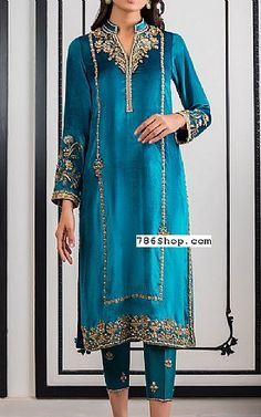Teal Blue Silk Suit   Buy Pakistani Fashion Dresses and Clothing Online in USA, UK Pakistani Dresses Online Shopping, Pakistani Formal Dresses, Online Dress Shopping, Pakistani Designer Clothes, Pakistani Designers, Indian Designer Outfits, Designer Party Dresses, Party Suits, Silk Suit