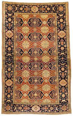 """The Vance N. Jordan """"Motashem"""" Kashan Rug C. 1900 Lot 83"""