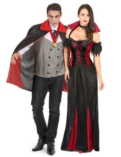 Vampire costume for couples: Halloween vampire costume for adults.This adult vampire costume consists of a cape, a tee-shirt with medallion. The top with long white sleeves is in shades of gray and red. It has two rows of. Halloween Vampire, Halloween Kostüm, Halloween Costumes, Adult Costumes, Costumes For Women, Couple Costumes, Vampire Fancy Dress, Red Skirts, Pretty Black
