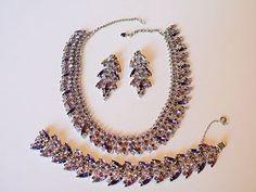 Vintage SHERMAN Crystal Rhinestone Necklace Bracelet Earrings Box   eBay