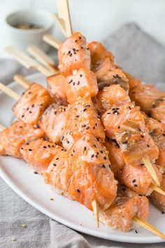Tender juicy salmon kebabs infused with sweet and nutty flavors. A fun n' quick dinner made easy!