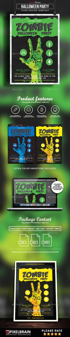 Spooky Zombie Party Flyer Template Flyer template, Template and - zombie flyer template