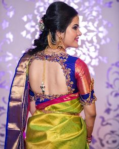 To make it easier for you, we have the top trending beautiful silk saree blouse designs so that you can choose the best for your saree look. Indian Blouse Designs, Blouse Back Neck Designs, Best Blouse Designs, Wedding Saree Blouse Designs, Pattu Saree Blouse Designs, Sari Design, Beau Sari, Stylish Blouse Design, Marie