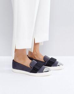 Miss KG Lisa Velvet Bow Slip On Sneakers - Gray