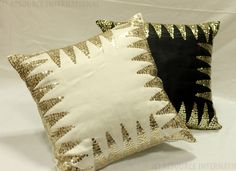 An Ri Product, embroidered cushion.  #White #Black #Cushions #sequenced #cushions,The #contrast.  https://www.facebook.com/resourceintl?fref=ts
