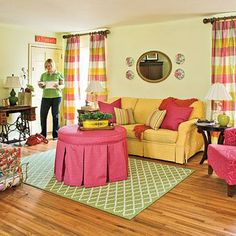 Get Comfortable with Color | Step away from neutral paint and fabric. Color is a simple way to make big changes in living rooms. The spring green in this space immediately brightens the room and creates the perfect base for a collection of brightly hued furnishings and accessories. | SouthernLiving.com