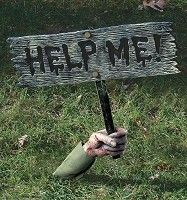 """Help Me"" Lawn Sign Prop  DIY with a foam sheet then paint and make it look real!  buyfoamblocks.com"