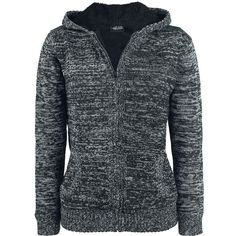 "Urban Classics Cardigan, Women ""Ladies Winter Knit Zip Hoody"" black-grey • EMP"