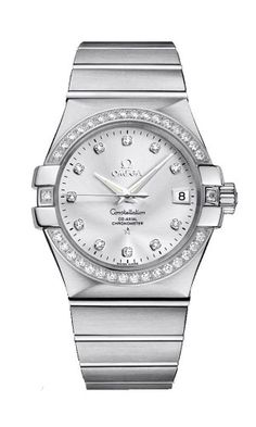 abd0ab5be03 Omega Constellation Steel   Diamond Automatic Womens Watch Silver Dial Date  123.15.35.20.52.001