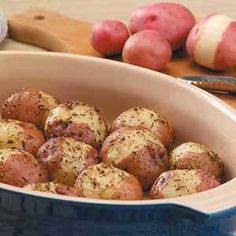 seasoned red potatoes-  These didn't have enough flavor for me, next time I think I'll pour the butter and oil over the potatoes, then season them, see if the flavoring sticks better.
