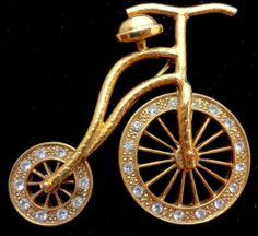 Vintage 1928 Tricycle Rhinestone Brooch Gold Pin Clear Stones Women's Estate | eBay