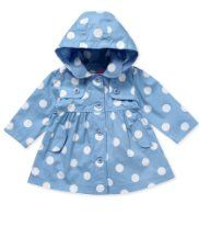 Carolina blue polka dot rain jacket for a little Tar Heel girl