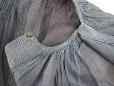 antique french linen smock neckline detail