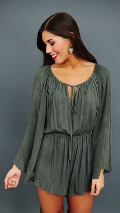 Olive Flared Sleeve Romper - Dottie Couture Boutique