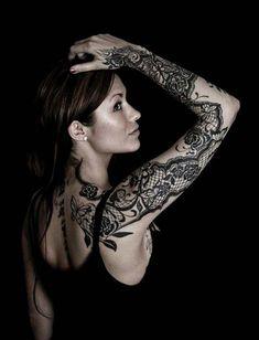 dantel dövmeleri kol sleeve lace tattoos