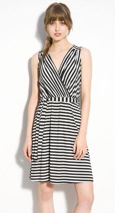 Bobeau-black-grey-stripe-jersey-dress
