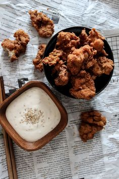 Crispy Buttermilk Popcorn Chicken with Creamy Honey Sesame Dip