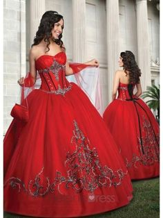 Flamenco Theme - Red & Black Quinceanera Dress with Sweetheart Neckline - Vintage Prom Dresses - Prom Dresses