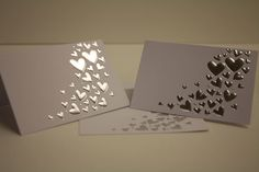 Wedding Table Place Name Cards Silver Embossed Heart On White Card