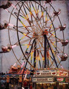Wilson County Fair Ferris Wheel - Fine Art Photography Print - 8x10 - Carnival - Neon - Evening on Etsy, $32.00