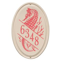 Personalized Oval Ceramic Address Plaque With Seahorse - One Line.  www.everythingnautical.com