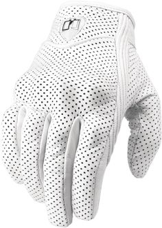 This glove by Icon is called the Pursuit and it's designed to be highly ventilated to encourage airflow - it has a reinforced goatskin palm to protect you. Motorcycle Riding Gloves, Biker Gloves, White Motorcycle, Biker Gear, Riding Gear, Motorcycle Outfit, Mens Gloves, Summer Motorcycle Jacket, Man Fashion
