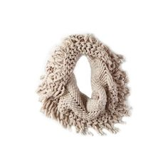 AEO Knit Fringe Snood ($20) ❤ liked on Polyvore featuring accessories, scarves, knit shawl, knit snood, american eagle outfitters, snood scarves and fringe scarves