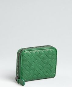 Bottega Veneta:  irish green intrecciato zip cardholder wallet