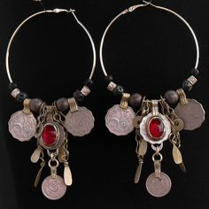 Scarlet's Lounge Belly Dance Apparel / Tribal Kuchi Coin Red Earrings