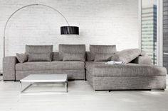 Design Ecksofa VINCENZA mit Bettfunktion Strukturstoff anthrazit
