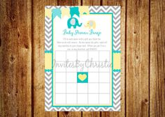 Instant Download Teal Yellow and Gray by InvitesByChristie on Etsy