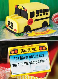 Creative & Playful Wheels on the Bus Birthday Party // Hostess with the Mostess® School Bus Cake, School Bus Party, Back To School Party, Party Bus, School Buses, 1st Boy Birthday, 3rd Birthday Parties, Birthday Cake, Birthday Ideas