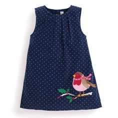 Love this Navy Robin Appliqué Shift Dress - Infant, Toddler & Girls on Cute Outfits For Kids, Toddler Outfits, Toddler Fashion, Kids Fashion, Kids Frocks, Robin, Pinafore Dress, Baby Dress, Baby Boy